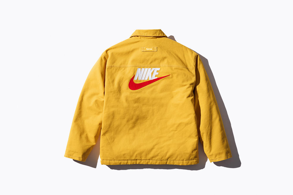 Nike Supreme Collaboration Logo Jacket Yellow Swoosh