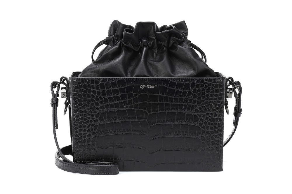 Off-White™ Croc-Embossed Black Leather Box Pouch Bag