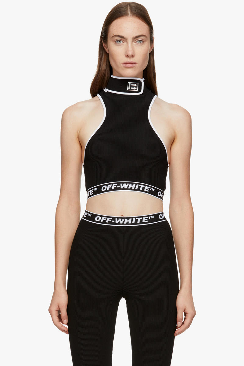 6c63401a261 Off-White Logo Bodysuit Virgil Abloh top Bralette Black Grey