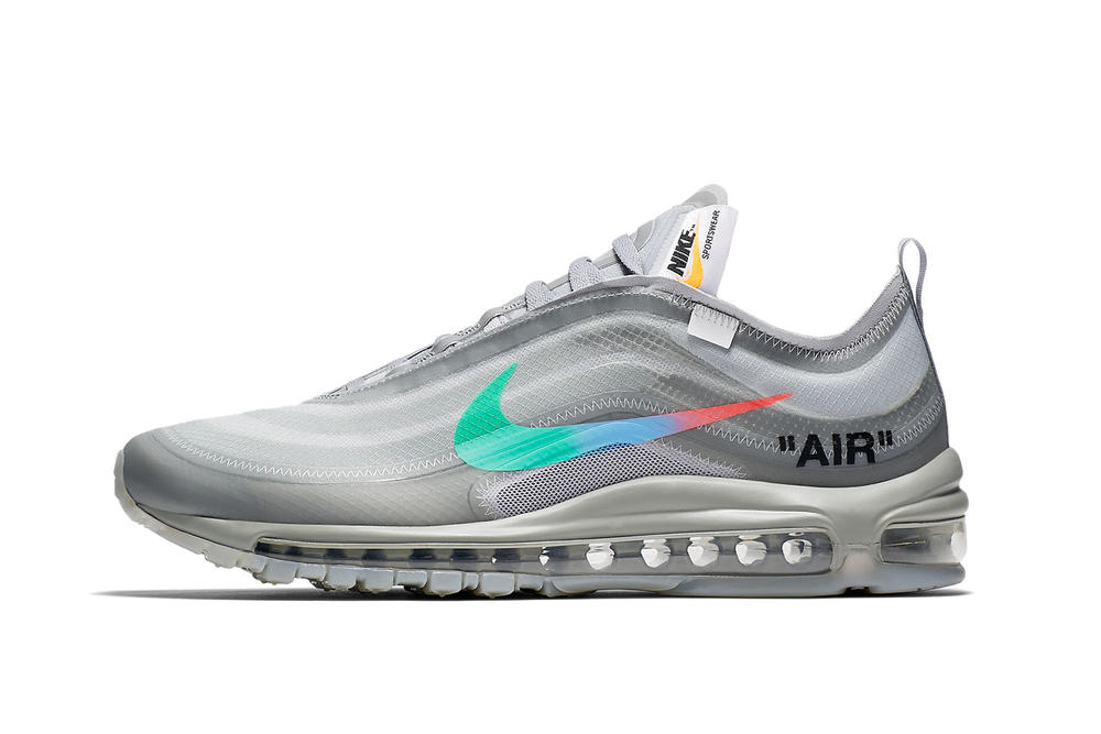 Off-White Nike Air Max 97 Menta Release Date Virgil Abloh Sneaker Shoe Grey Rainbow Swoosh Gradient