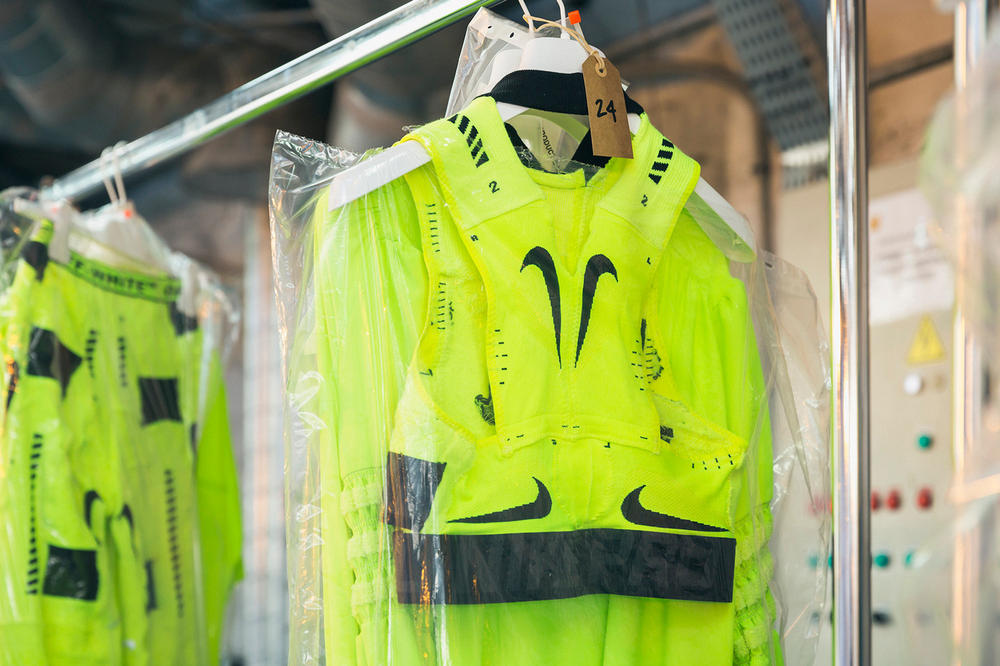 Off-White Virgil Abloh Spring Summer 2019 Paris Fashion Week Show Backstage Nike Top Green Black