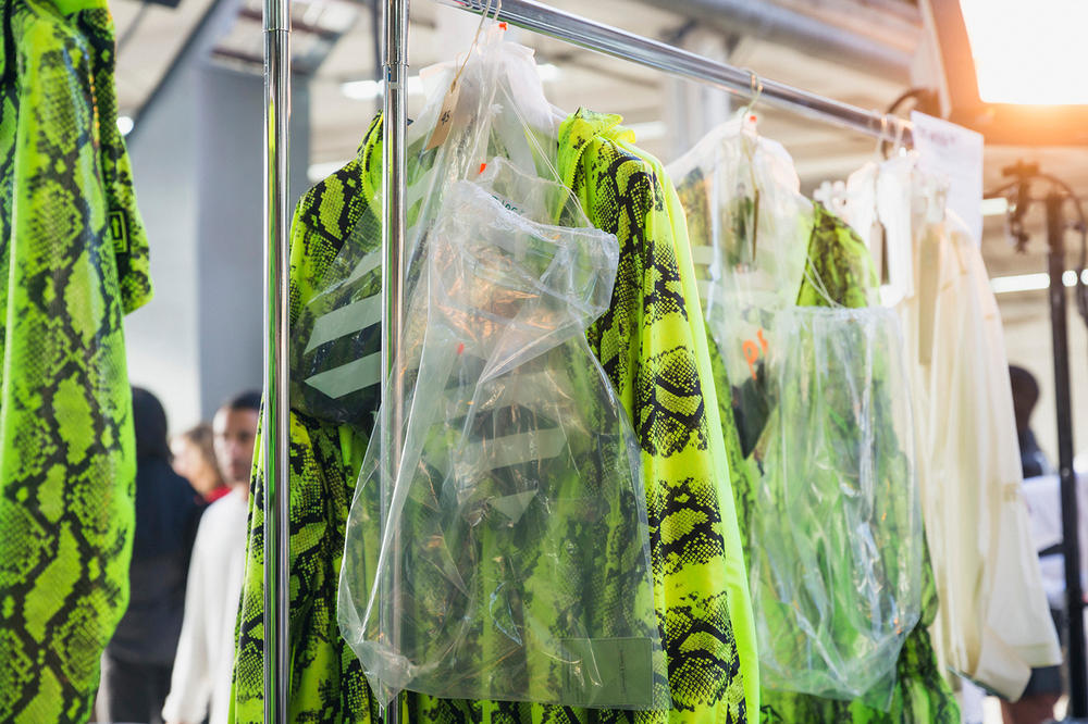 Off-White Virgil Abloh Spring Summer 2019 Paris Fashion Week Show Backstage Snakeskin Top Green