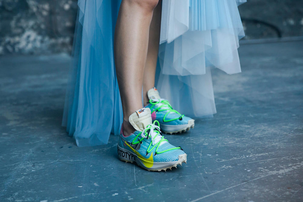 Off-White Virgil Abloh Spring Summer 2019 Paris Fashion Week Show Backstage Nike React Vapor Street Flyknit Green Blue