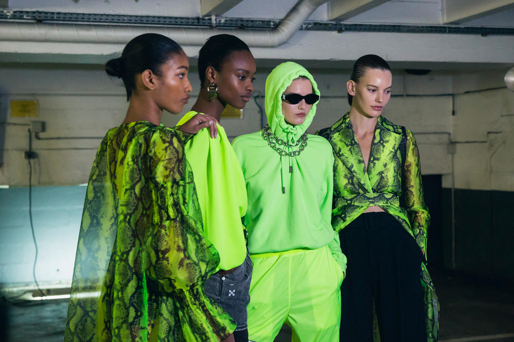 Off-White Virgil Abloh Spring Summer 2019 Paris Fashion Week Show Backstage Snakeskin Dress Top Green