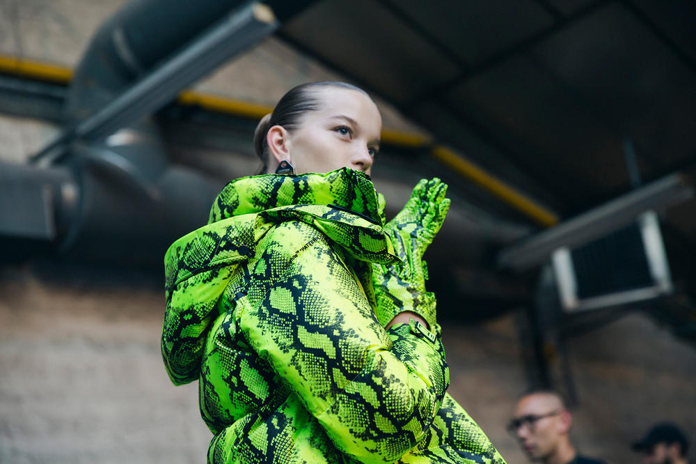 Off-White Virgil Abloh Spring Summer 2019 Paris Fashion Week Show Backstage Snakeskin Jacket Green
