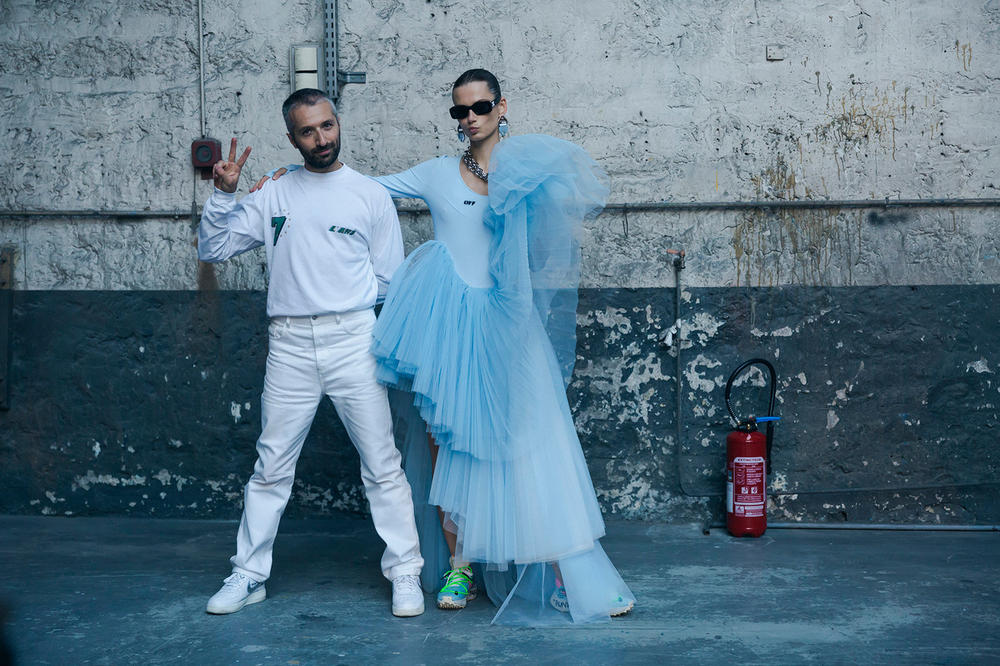 Off-White Virgil Abloh Spring Summer 2019 Paris Fashion Week Show Backstage Tulle Dress Blue