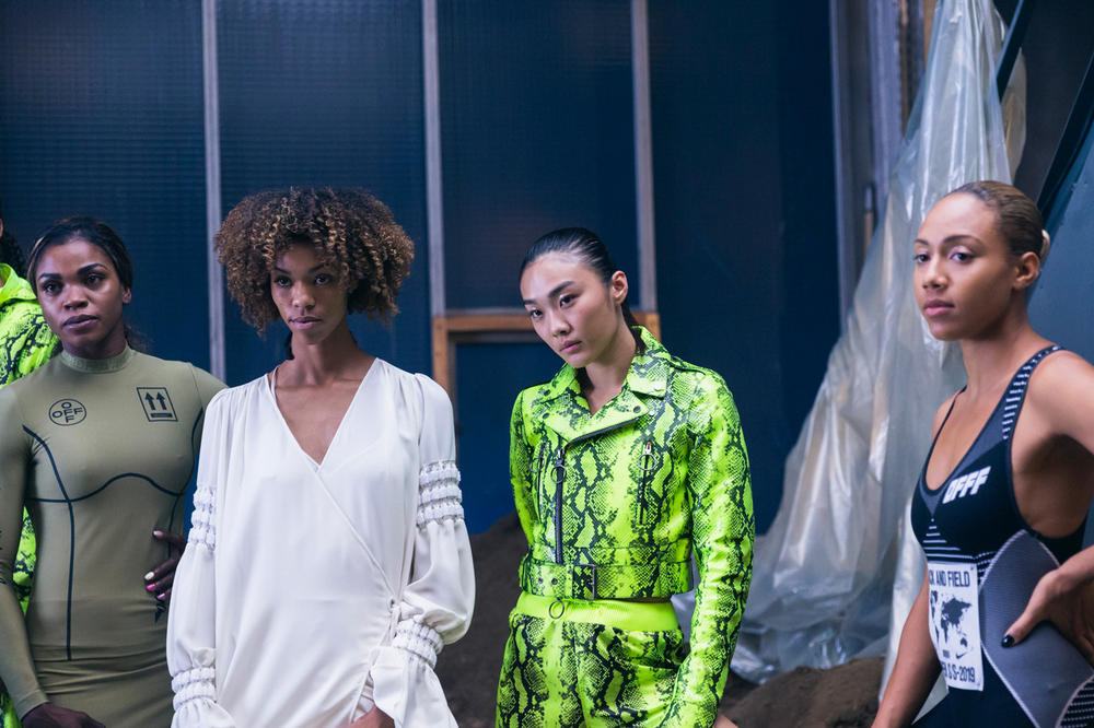 Off-White Virgil Abloh Spring Summer 2019 Paris Fashion Week Show Backstage Snakeskin Jacket Green Cecilia Yeung Katarina Johnson-Thompson