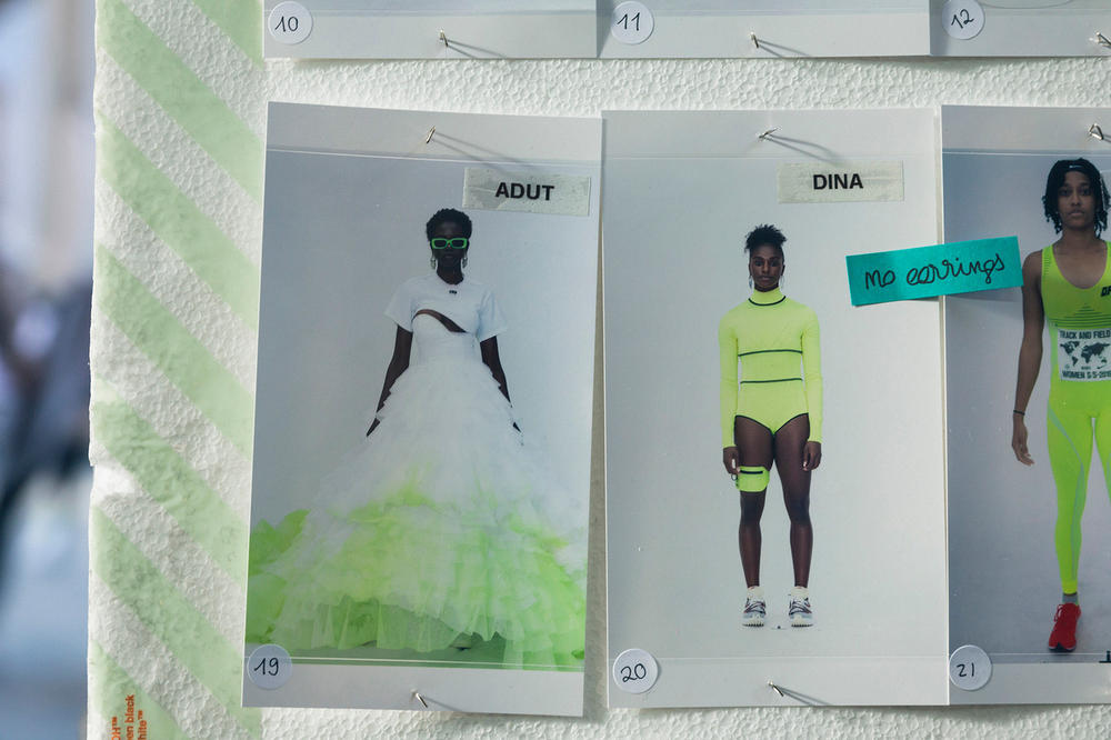 Off-White Virgil Abloh Spring Summer 2019 Paris Fashion Week Show Backstage Adut Akech Tulle Skirt White Green