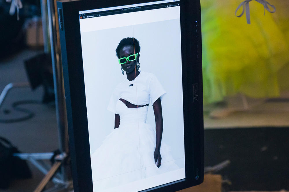 Off-White Virgil Abloh Spring Summer 2019 Paris Fashion Week Show Backstage Crop Top White Sunglasses Green