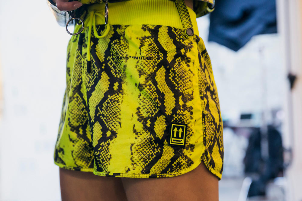 Off-White Virgil Abloh Spring Summer 2019 Paris Fashion Week Show Backstage Snakeskin Shorts Green