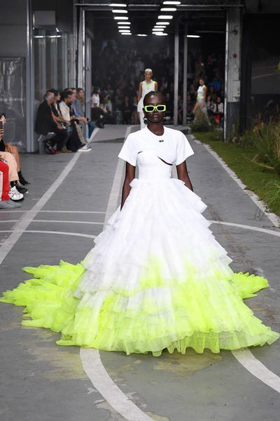 Off-White Virgil Abloh SS19 Runway Show Paris Fashion Week Track and Field White Neon Yellow Dress