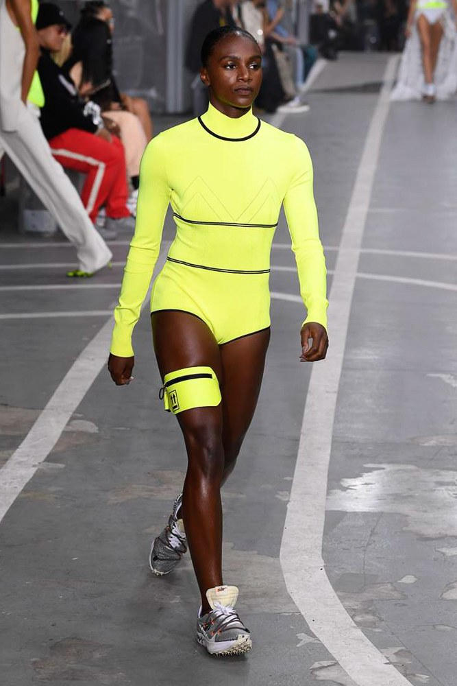 Off-White Virgil Abloh SS19 Runway Show Paris Fashion Week Track and Field Neon Yellow Leotard