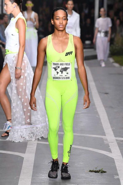 Off-White Virgil Abloh SS19 Runway Show Paris Fashion Week Track and Field Neon Yellow Unitard