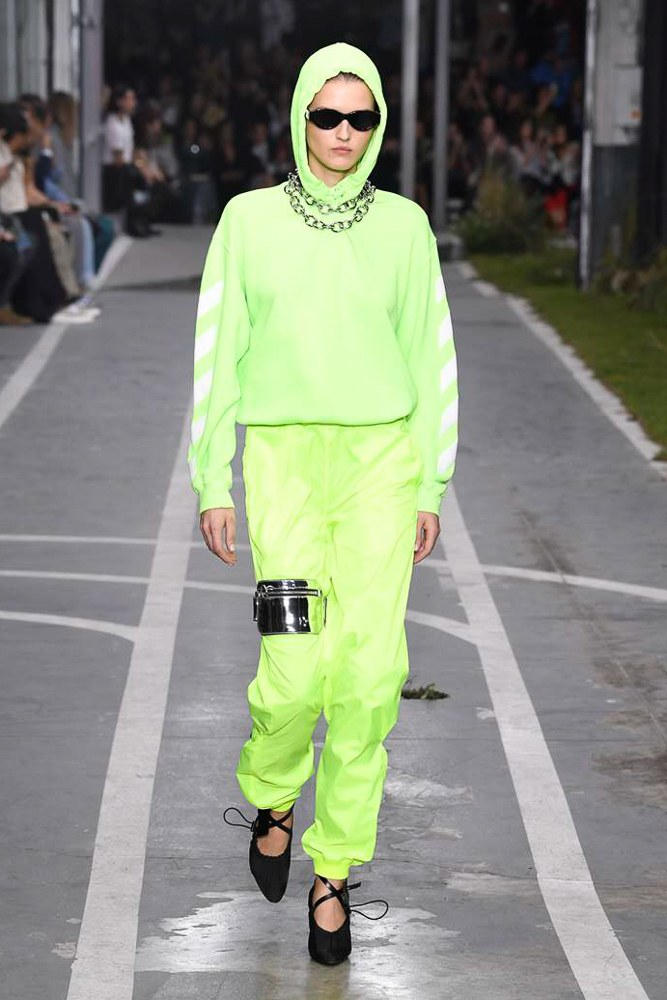 Off-White Virgil Abloh SS19 Runway Show Paris Fashion Week Track and Field Neon Yellow Hoodie