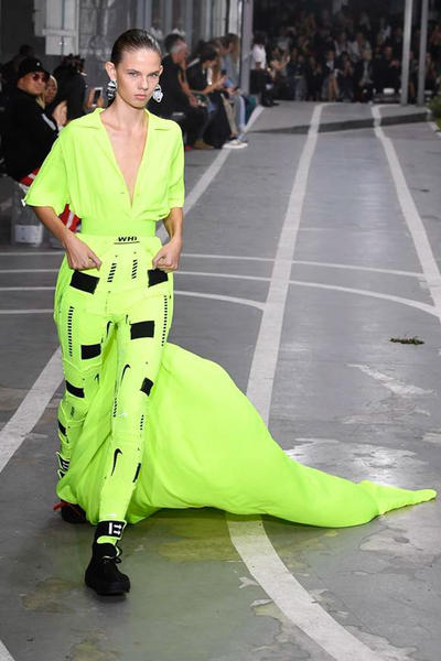 Off-White Virgil Abloh SS19 Runway Show Paris Fashion Week Track and Field Neon Yellow Nike Pants