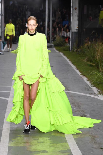Off-White Virgil Abloh SS19 Runway Show Paris Fashion Week Track and Field Neon Yellow Dress