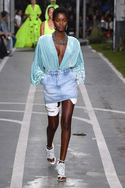 Off-White Virgil Abloh SS19 Runway Show Paris Fashion Week Blue Track and Field