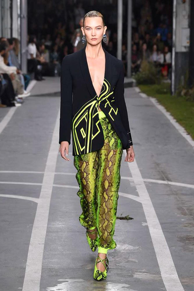 Off-White Virgil Abloh SS19 Runway Show Paris Fashion Week Track and Field Karlie Kloss Neon Yellow Python Pants