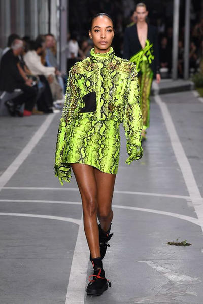 Off-White Virgil Abloh SS19 Runway Show Paris Fashion Week Track and Field Neon Yellow Python Jourdan Dunn