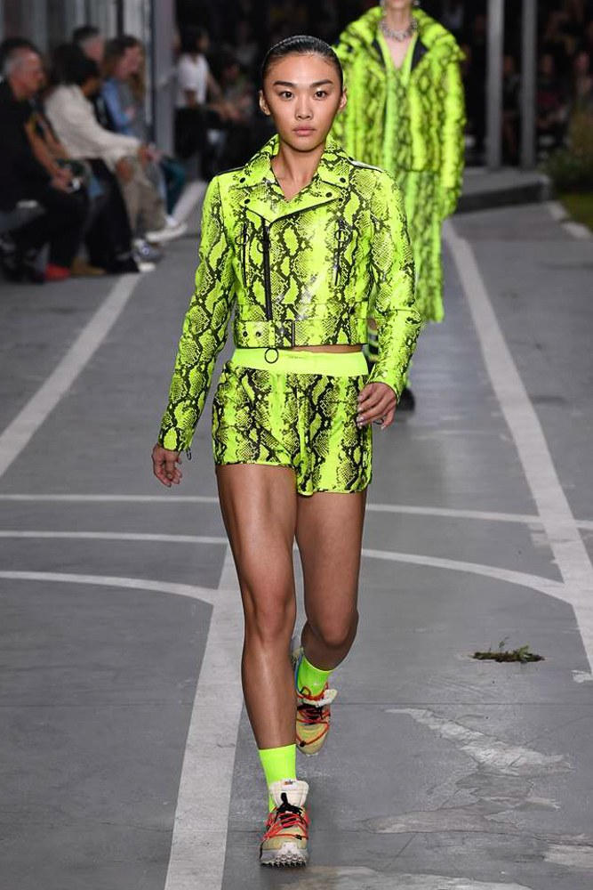 Off-White Virgil Abloh SS19 Runway Show Paris Fashion Week Cecilia Yeung Hong Kong High Jumper Model Track and Field Neon Yellow Python