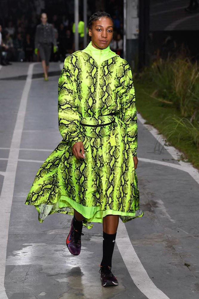 Off-White Virgil Abloh SS19 Runway Show Paris Fashion Week Track and Field Neon Yellow Python