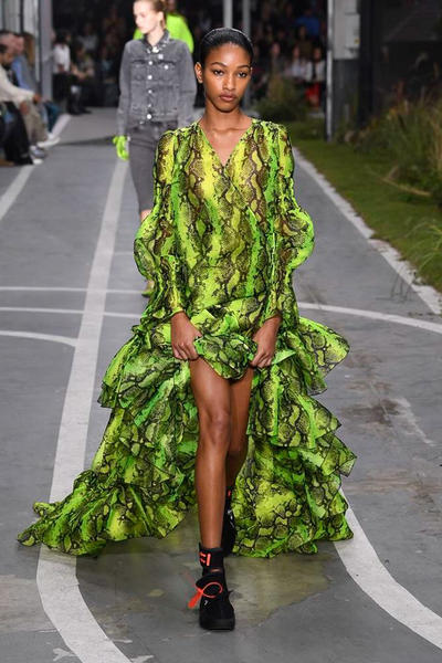 Off-White Virgil Abloh SS19 Runway Show Paris Fashion Week Track and Field Neon Yellow Python Dress