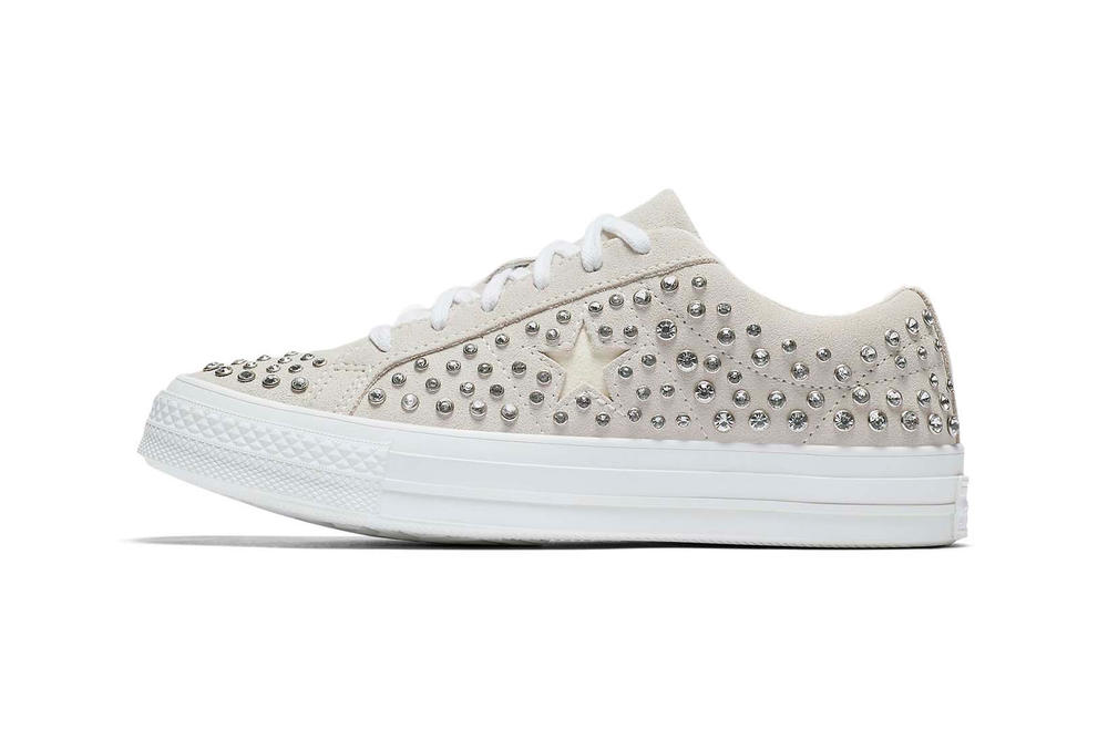 Opening Ceremony x Converse Rhinestone Crystal One Star Egret Sneakers