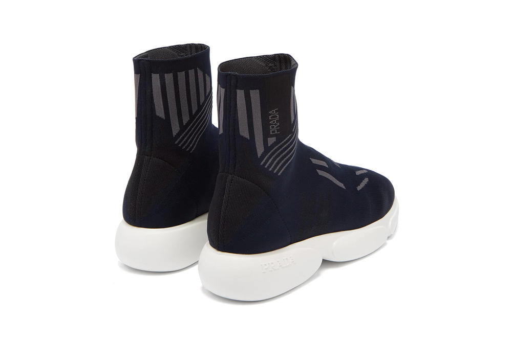 prada cloudbust high top sock trainer navy matchesfashion