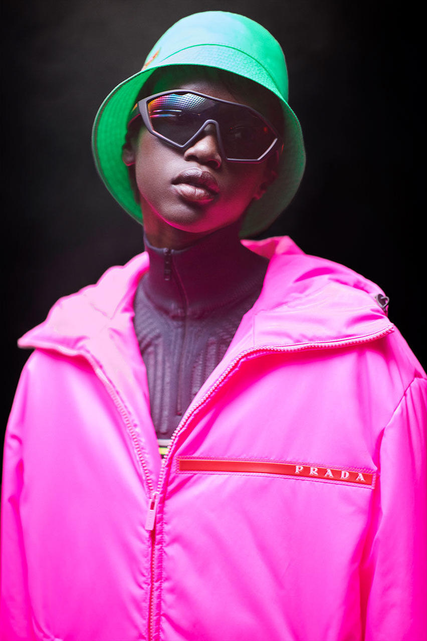 Prada Linea Rossa Fall Winter 2018 Campaign Neon Pink Green Bucket Hat
