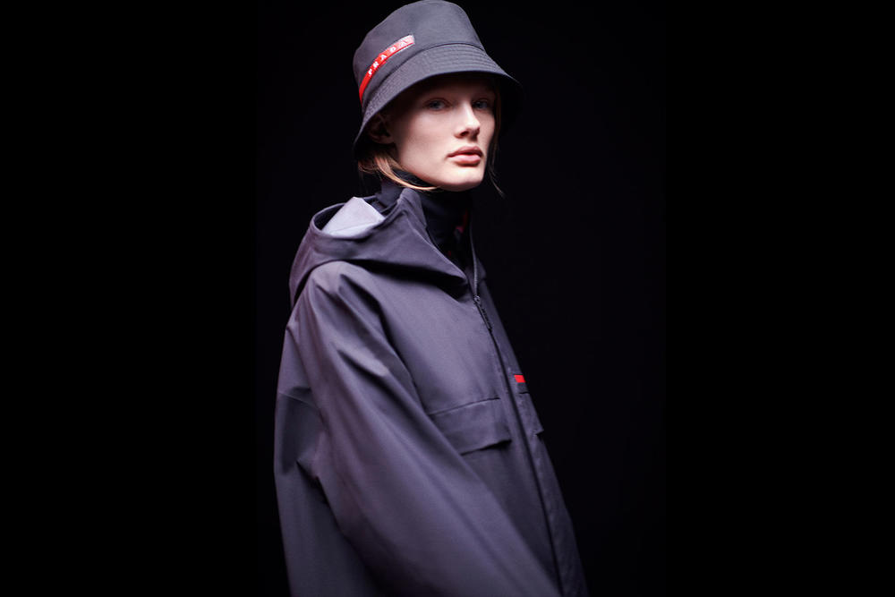 Prada Linea Rossa Fall Winter 2018 Campaign Black Red Logo Bucket Hat 62f6ff7b72c