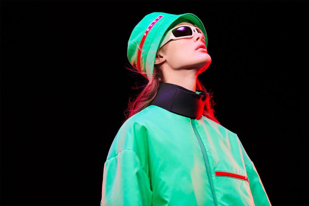 Prada Linea Rossa Fall Winter 2018 Campaign Neon Green Bucket Hat Red Logo