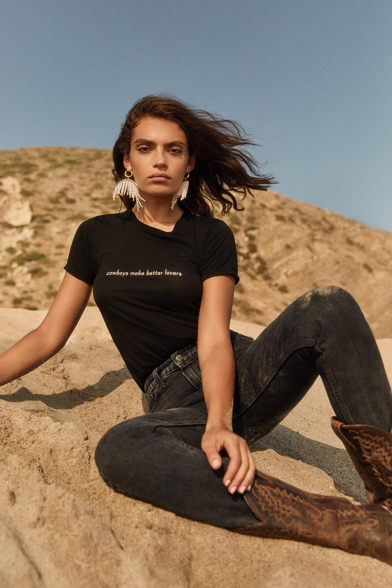 Reformation Ref Fall 2018 Jeans Collection Editorial Joplin Relaxed Tee Cowboys Black