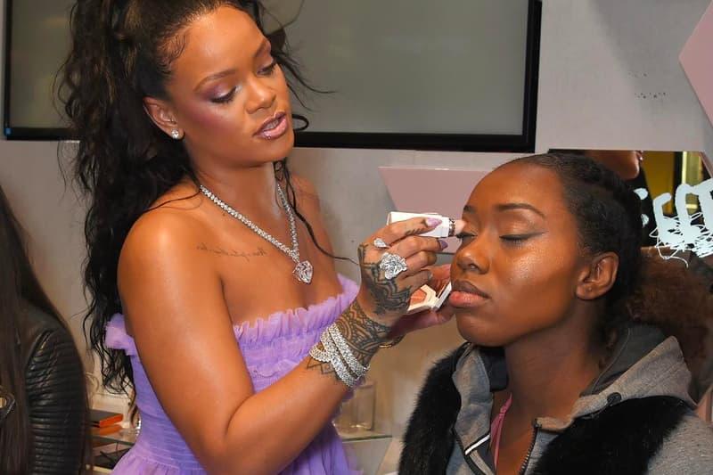 Rihanna Fenty Beauty Putting Makeup On Fans Applying Cosmetics Artistry Talk Purple Molly Goddard Dress Ponytail 2017