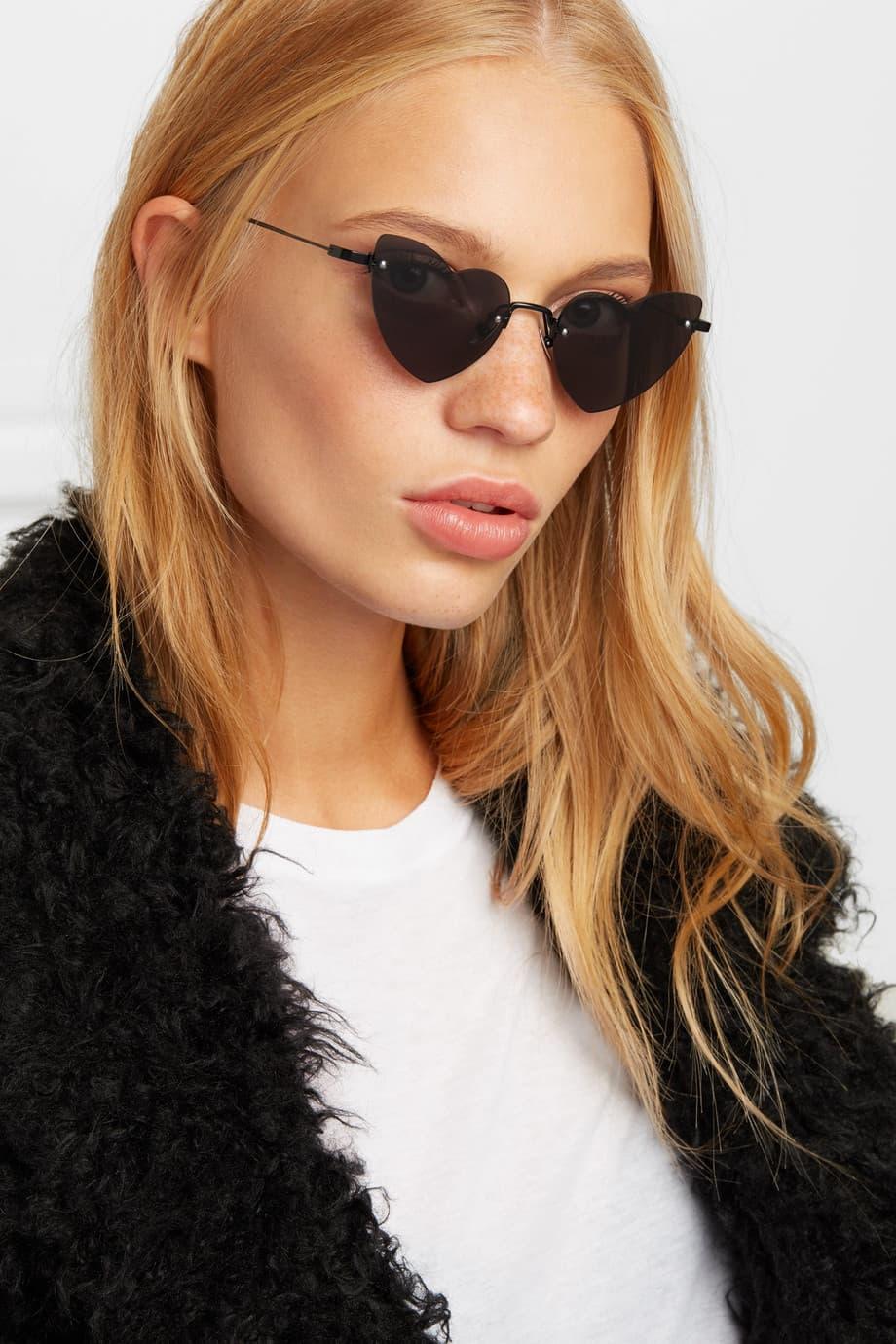 Saint Laurent New Wave Lou Lou Sunglasses Heart Shape Black