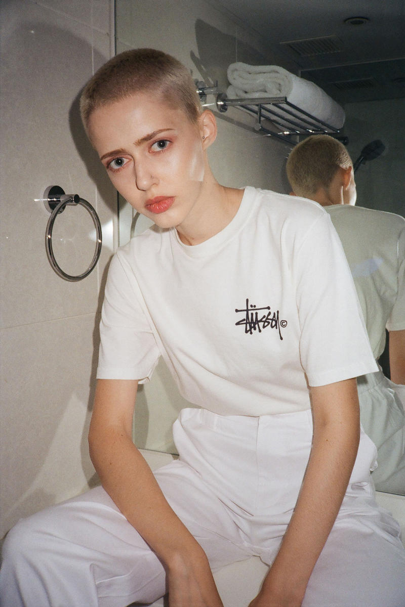 Stussy Fall Winter 2018 HBX Editorial Basic Logo Pig Dyed Short Sleeve T-shirt White