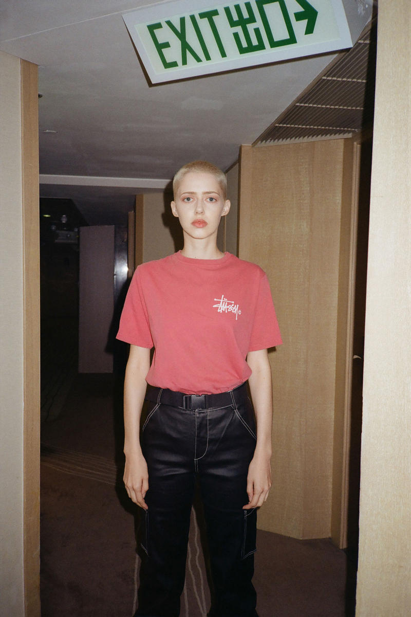Stussy Fall Winter 2018 HBX Editorial Basic Logo Pig Dyed Short Sleeve T-shirt Red