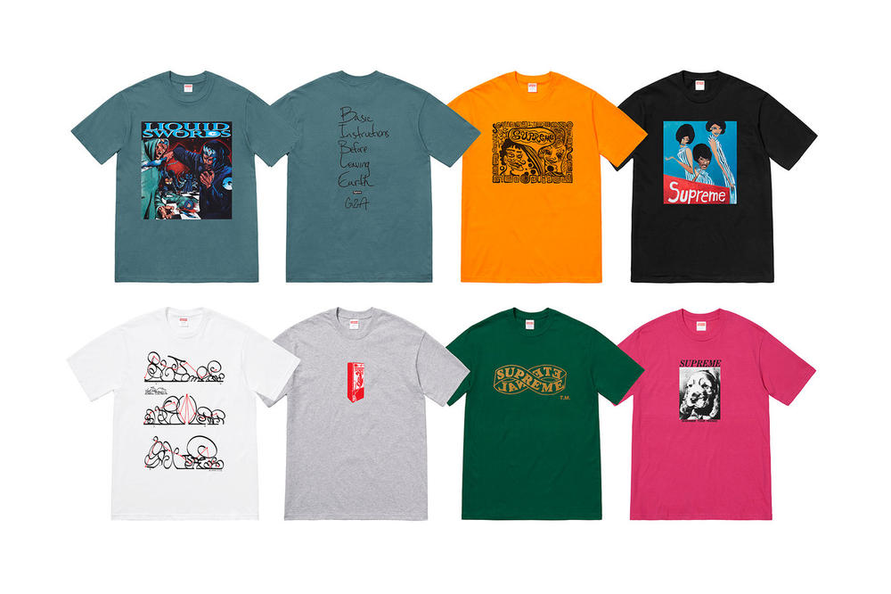 Supreme Fall 2018 GZA Tabboo! T-Shirt Tees Teal Orange Black White Grey Green Pink