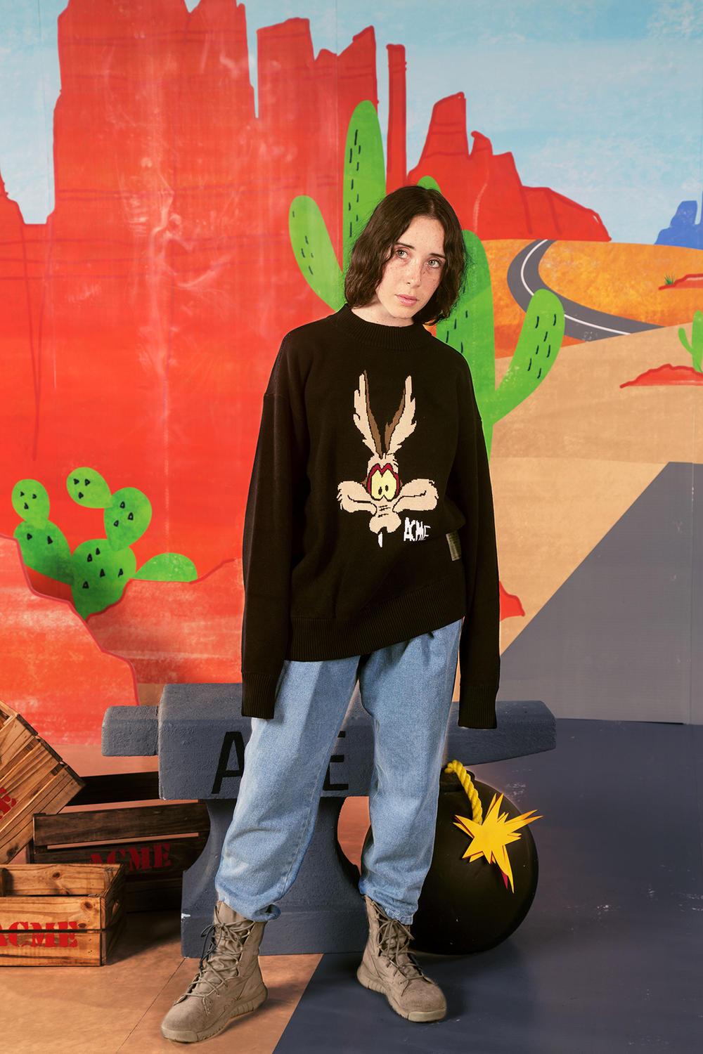 the hundreds looney tunes acme collaboration wile e coyote road runner cartoons hoodies bomber jackets
