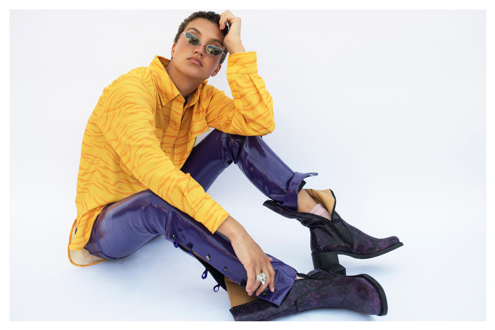 The Latest Craze Dutch Model Editorial Shirt Yellow Pants Purple