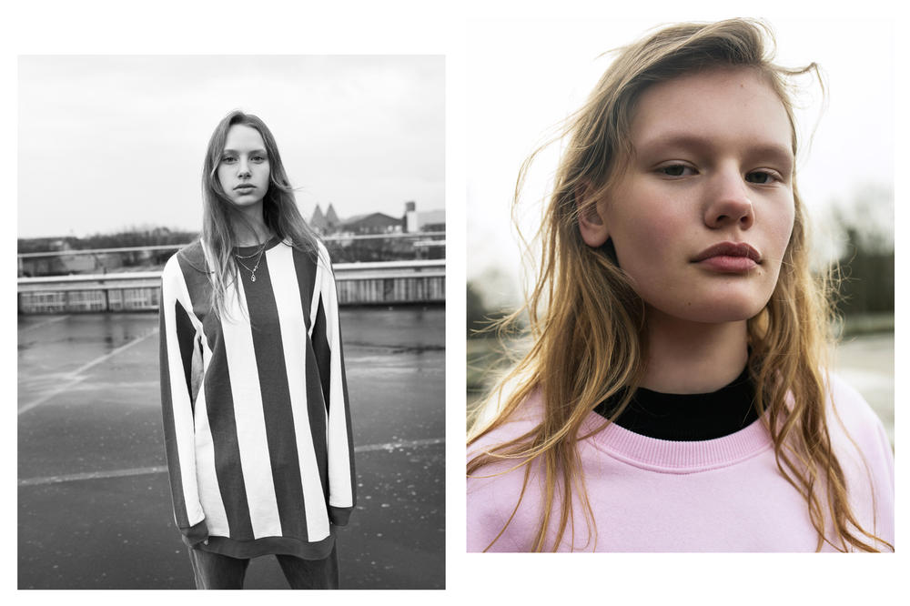 The Latest Craze Dutch Model Editorial Striped Shirt White Sweater Pink