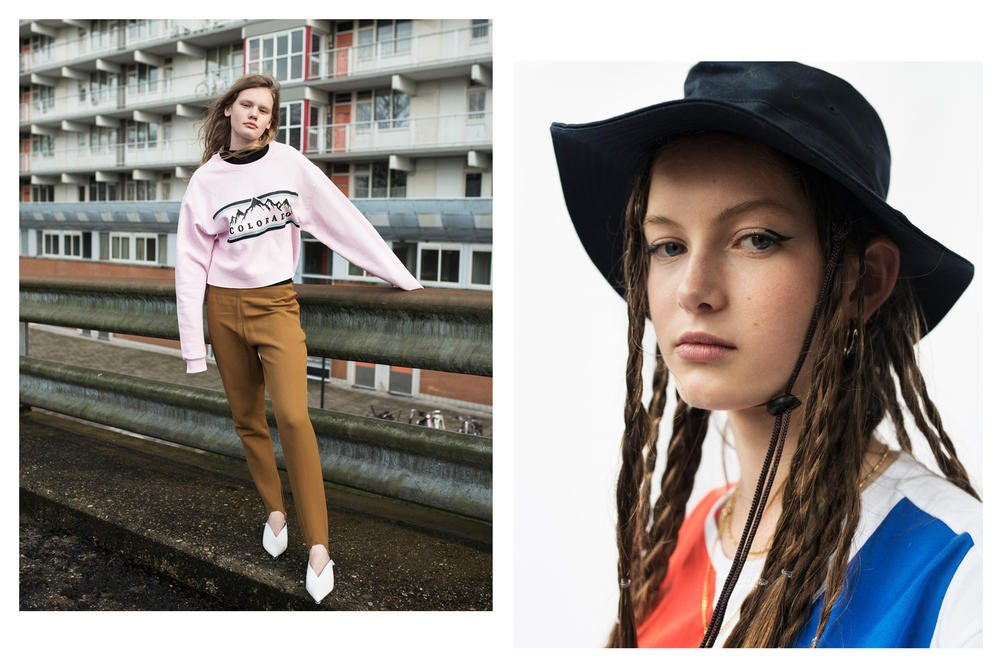 The Latest Craze Dutch Model Editorial Sweater Pink Pants Tan Hat Black Shirt Red Blue White