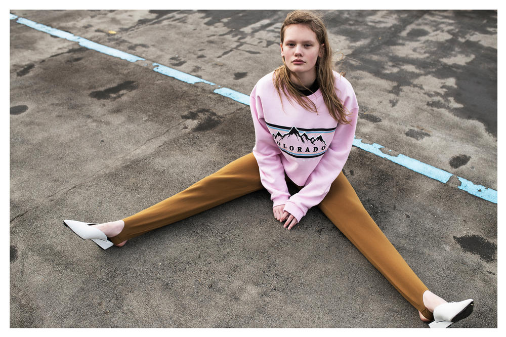 The Latest Craze Dutch Model Editorial Sweater Pink Pants Tan
