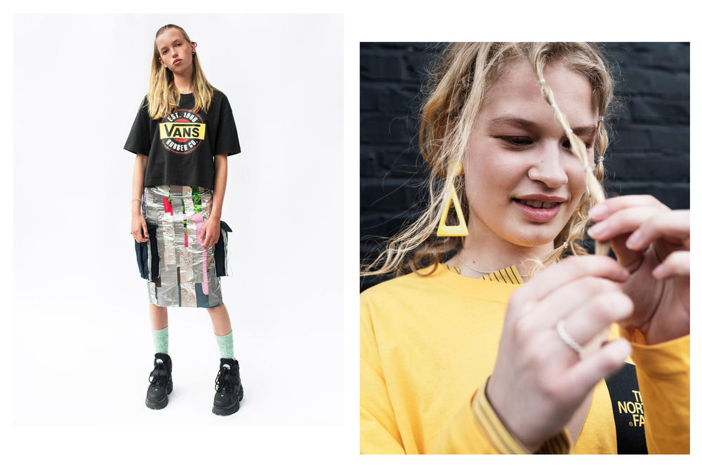 The Latest Craze Dutch Model Editorial T-shirt Black Skirt Multicolored Sweater Yellow