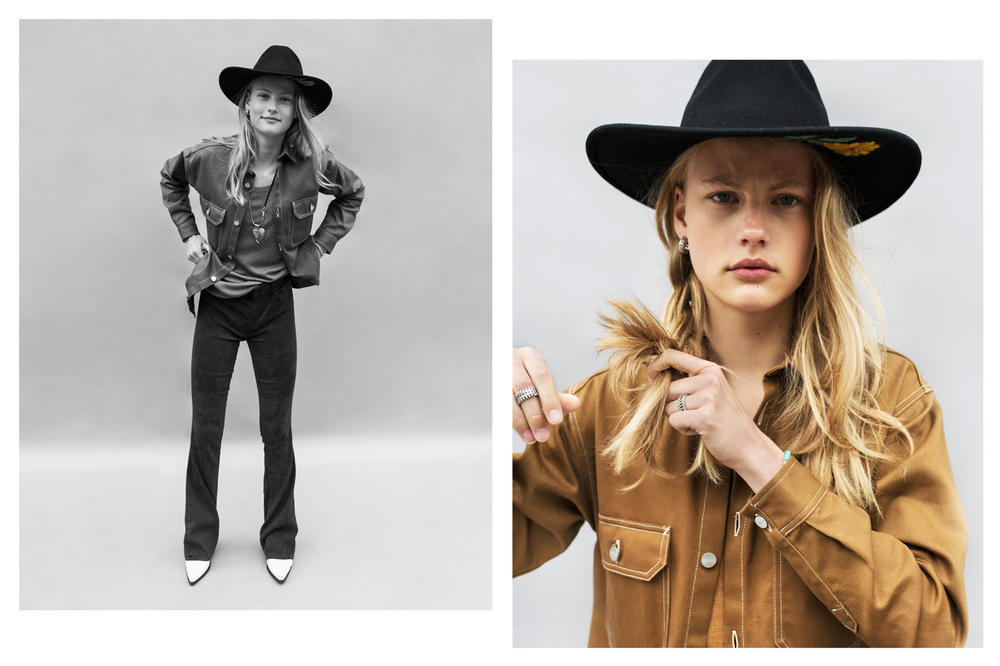 The Latest Craze Dutch Model Editorial Suede Jacket Brown Denim Hat Black