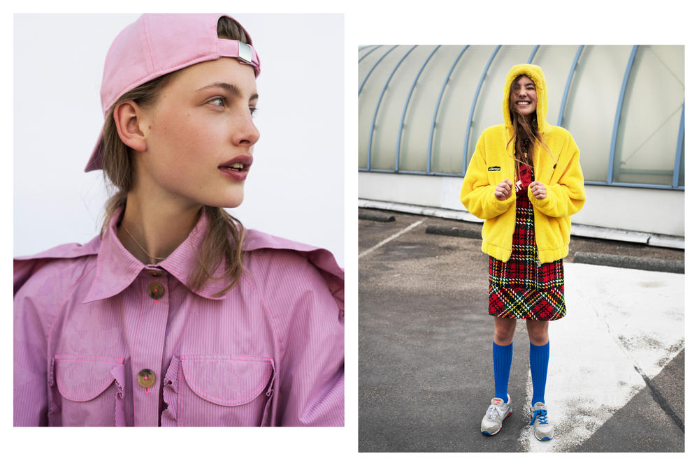 The Latest Craze Dutch Model Editorial Jacket Hat Pink Dress Plaid Red Raincoat Yellow
