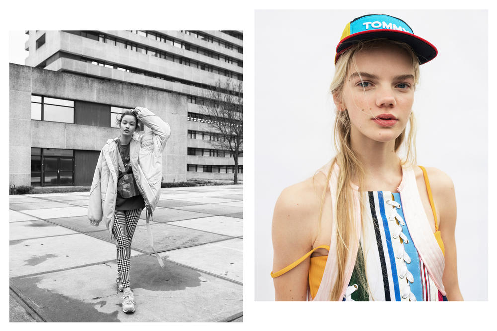 The Latest Craze Dutch Model Editorial Denim Jacket Grey Dress Multicolored Tommy Hilfiger Hat