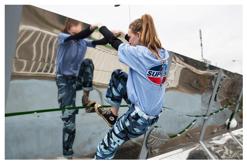 The Latest Craze Dutch Model Editorial Top Grey Camouflage Pants Green Blue