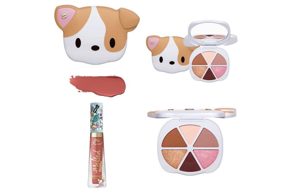too faced cosmetics pretty puppy eyeshadow palette clover collection makeup melted matte liquid lipstick dusk pink