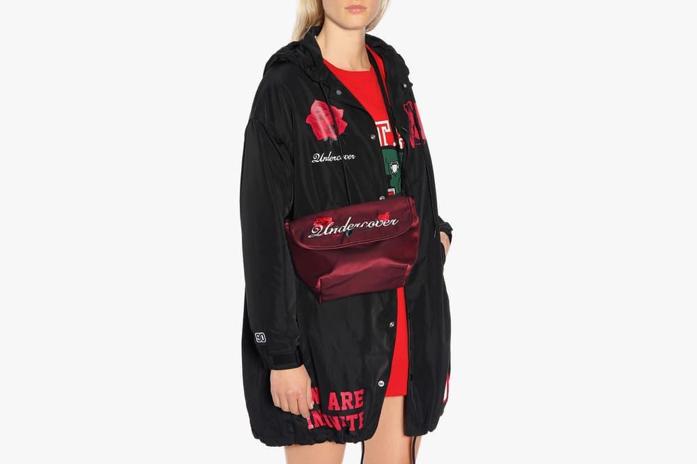 UNDERCOVER Satin Embroidered Shoulder Bag Burgundy