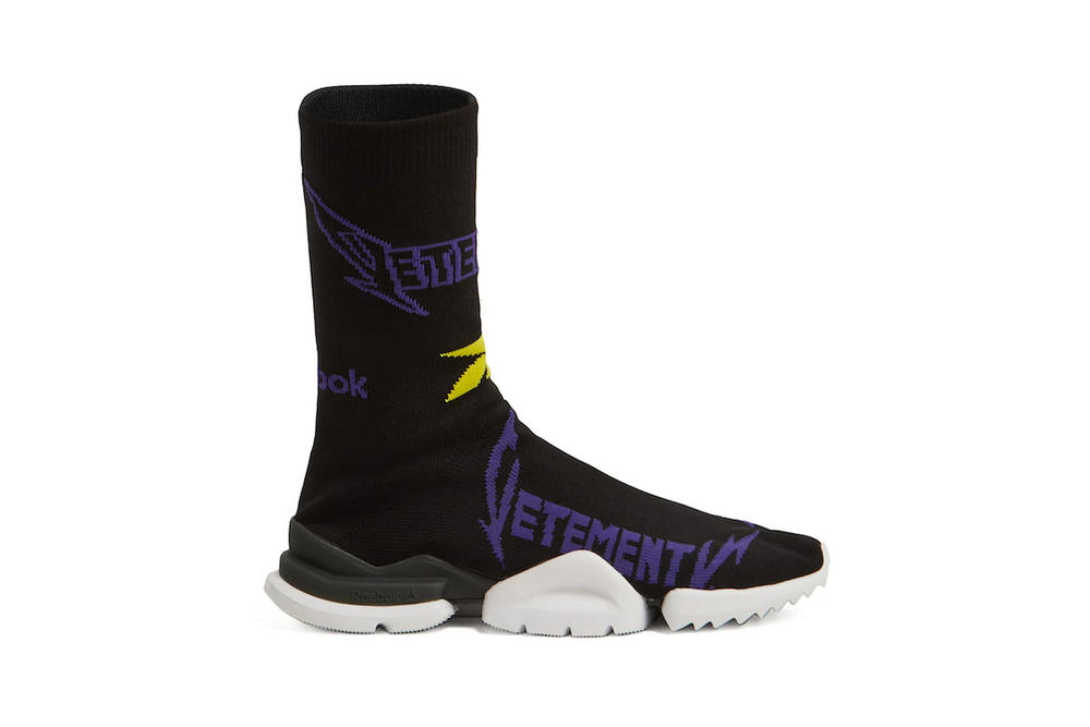 Vetements Reebok Sock Sneaker Collaboration Design Fashion Shoe Black Pattern Design